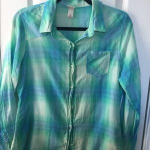 Mossimo blue/green squared pattern button down